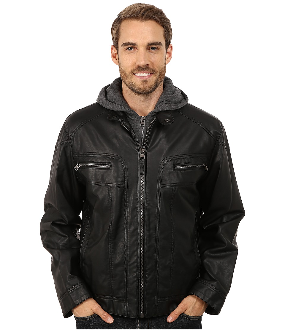 Calvin Klein - Faux Leather Hoodie Jacket (Black) Men