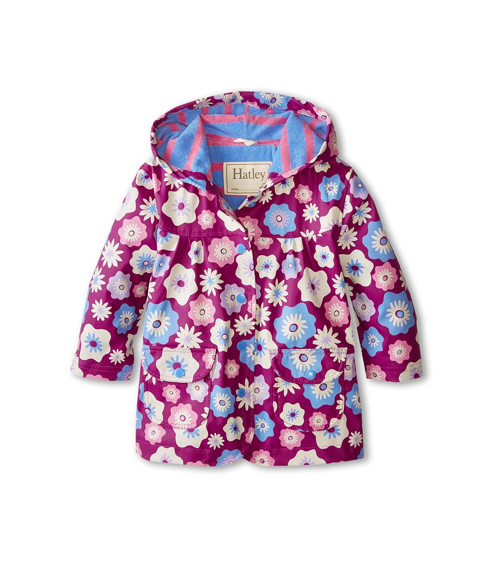 Hatley Kids - Graphic Flowers Raincoat (Toddler/Little Kids/Big Kids) (Purple) Girl's Coat