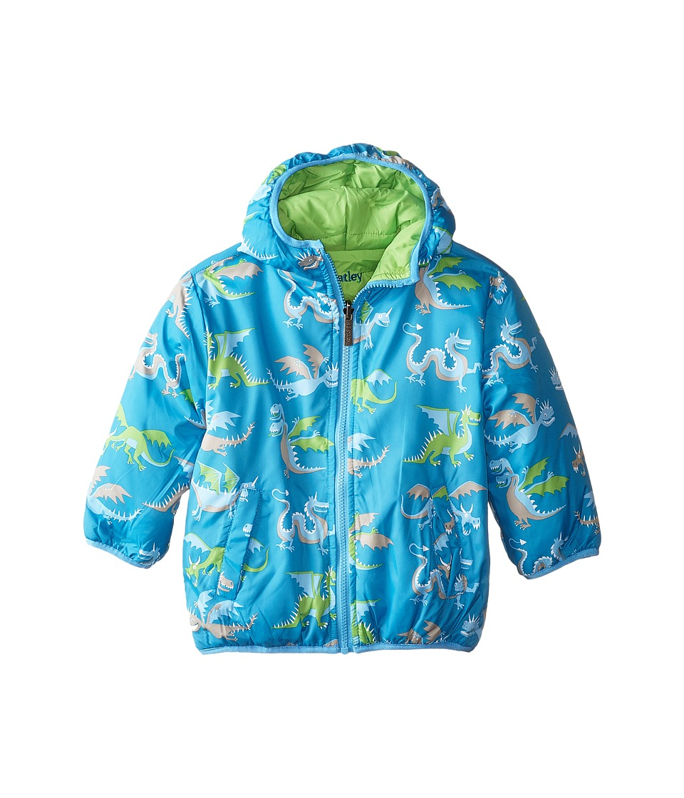 Hatley Kids - Dragons Reversible Winter Puffer (Toddler/Little Kids/Big Kids) (Blue) Boy