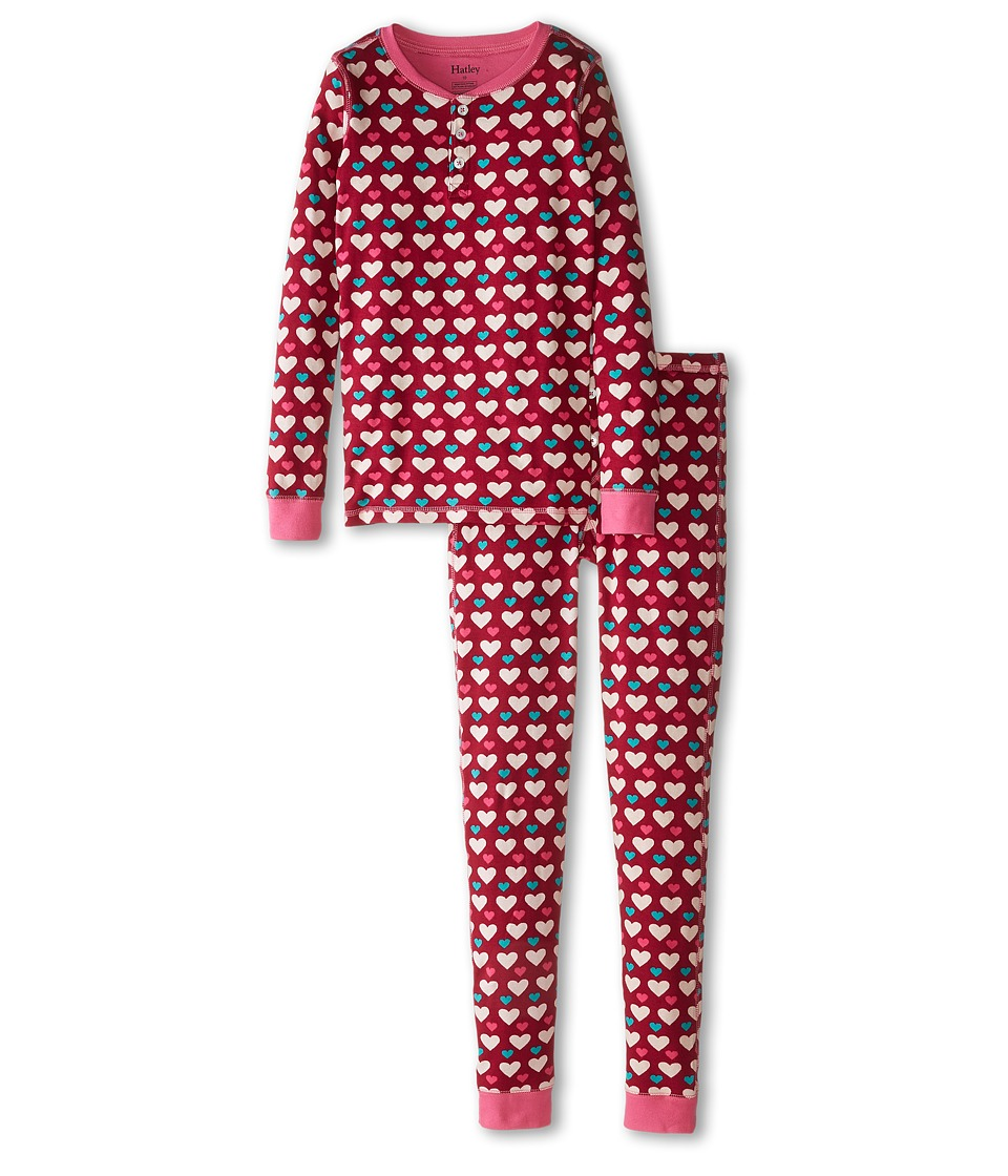 Hatley Kids - Lots Of Hearts Henley PJ Set (Toddler/Little Kids/Big Kids) (Red) Girl