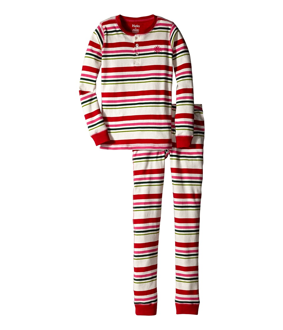 Hatley Kids - Holiday Stripe Henley PJ Set (Toddler/Little Kids/Big Kids) (Multi) Girl's Pajama Sets