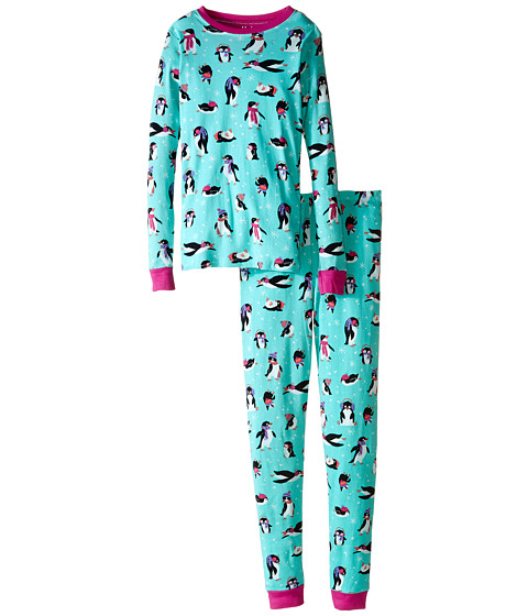 Hatley Kids - Cool Penguins PJ Set (Toddler/Little Kids/Big Kids) (Light Blue) Girl's Pajama Sets