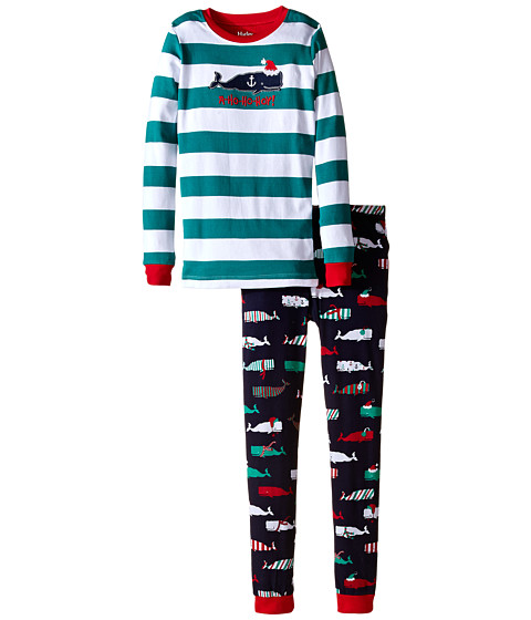 Hatley Kids - Scarf Whales PJ Set (Toddler/Little Kids/Big Kids) (Multi) Boy