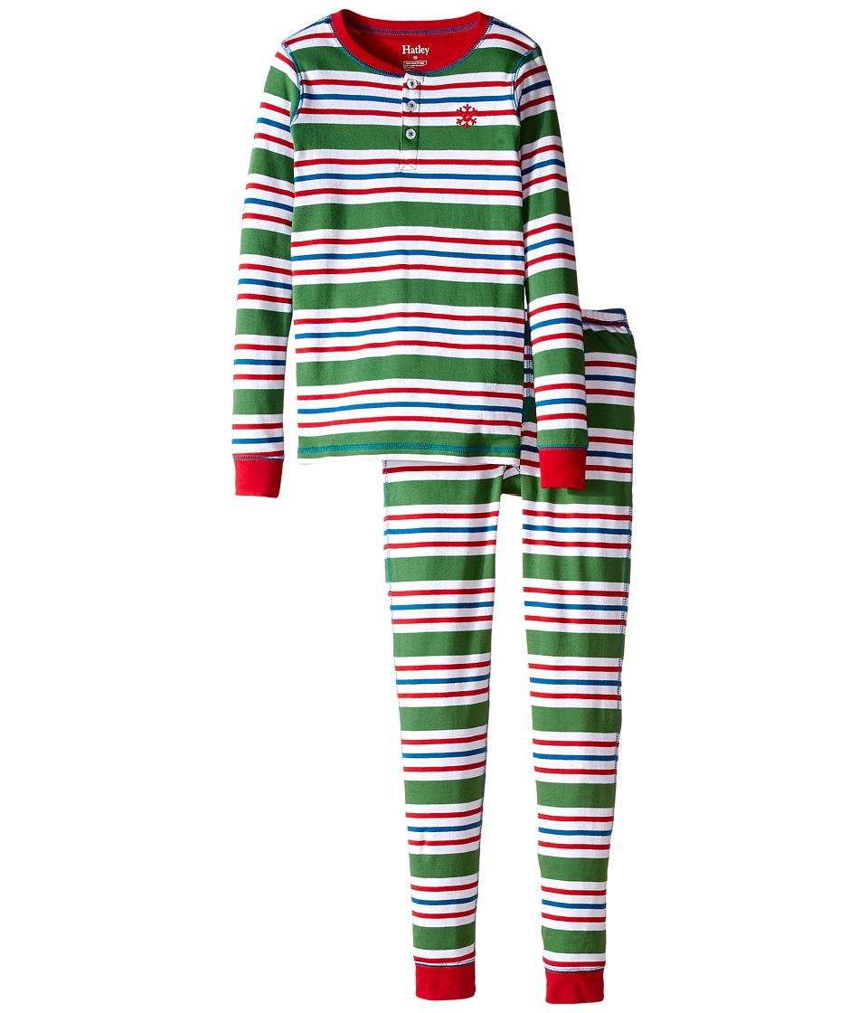 Hatley Kids - Holiday Stripe Henley PJ Set (Toddler/Little Kids/Big Kids) (Green) Boy's Pajama Sets