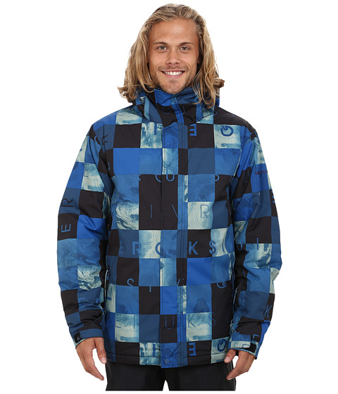 Quiksilver - Mission Printed Snow Jacket (Dark Denim) Men's Coat