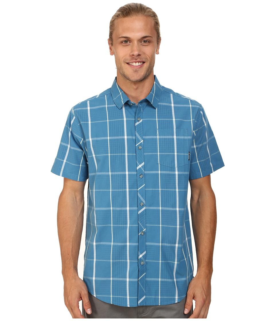 Billabong - Highway Short Sleeve Button Up (Washed Blue) Men