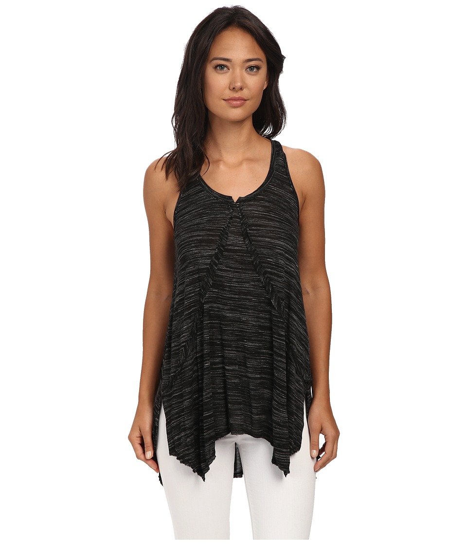 Mod-o-doc - Spaced Dyed Jersey Seamed Racerback Tunic (Black) Women's Blouse