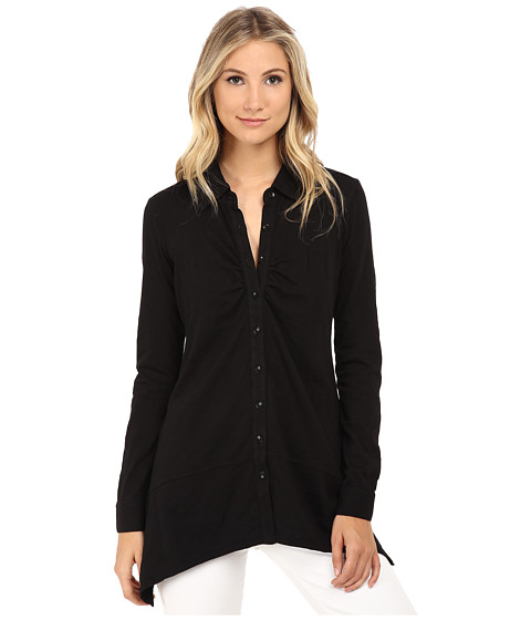 Mod-o-doc - Heavier Slub Jersey Button-Front Tunic w/ Side Slits (Black) Women's Blouse