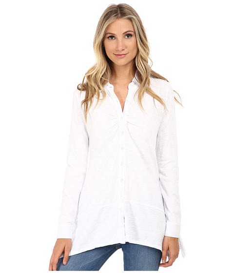Mod-o-doc - Heavier Slub Jersey Button-Front Tunic w/ Side Slits (White) Women's Blouse