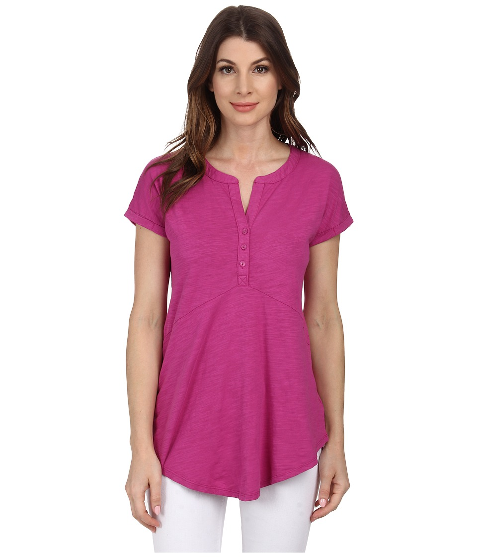 Mod-o-doc - Slub Jersey Short Sleeve Split-Neck Henley Tunic (Plume) Women's Blouse
