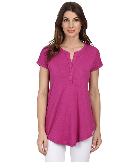 Mod-o-doc - Slub Jersey Short Sleeve Split-Neck Henley Tunic (Plume) Women