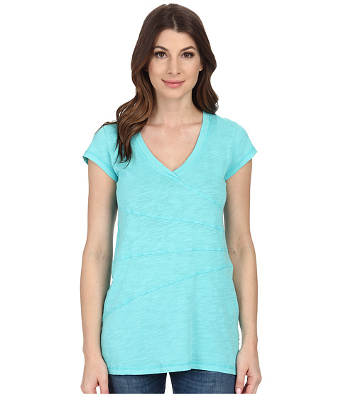 Mod-o-doc - Slub Jersey Short Sleeve Seamed V-Neck Tunic (Atlantic) Women's Blouse