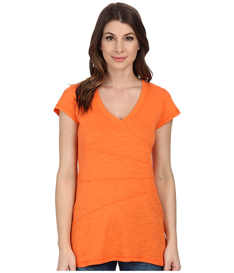 Mod-o-doc - Slub Jersey Short Sleeve Seamed V-Neck Tunic (Citrus) Women's Blouse