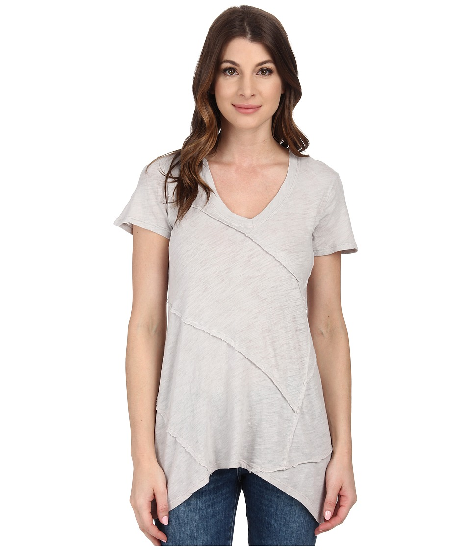 Mod-o-doc - Sheer Slub Jersey Raw Edge Seamed Hi-Low Hem Tunic (Cloud) Women