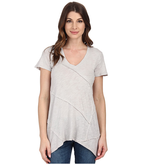 Mod-o-doc - Sheer Slub Jersey Raw Edge Seamed Hi-Low Hem Tunic (Cloud) Women's Blouse