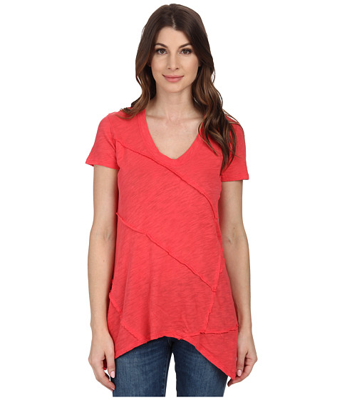 Mod-o-doc - Sheer Slub Jersey Raw Edge Seamed Hi-Low Hem Tunic (Tutti Frutti) Women's Blouse