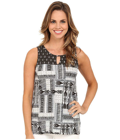 Mod-o-doc - Aztec Patchwork Printed Slub Jersey Mixed Print Hi-Low Hem Tank Top (Cinder) Women's Sleeveless