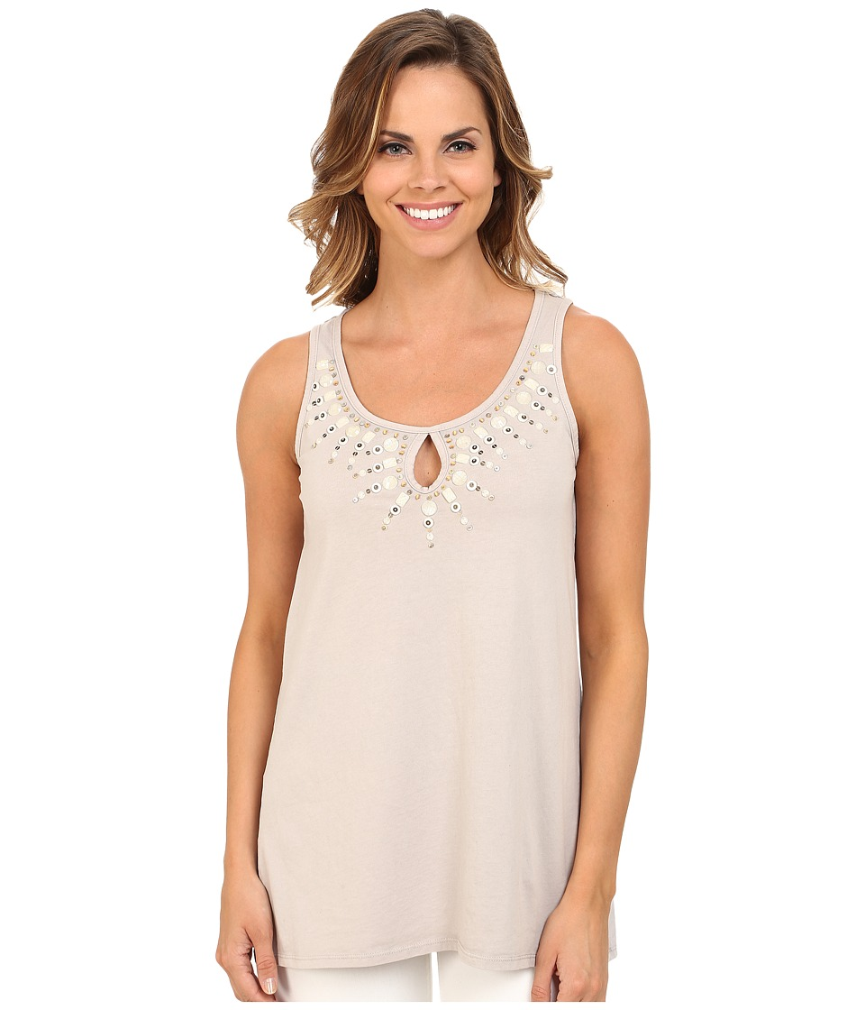 Mod-o-doc - Classic Jersey Beaded Trim Tank Top (Cloud) Women's Sleeveless
