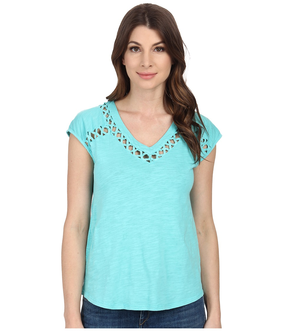 Mod-o-doc - Slub Jersey Crisscross Trim V-Neck Tee (Atlantic) Women's T Shirt