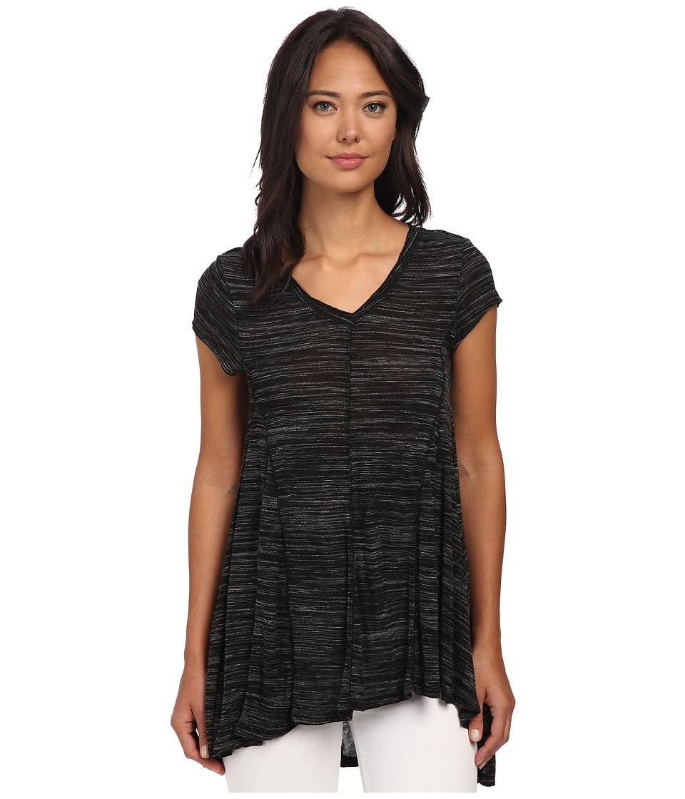 Mod-o-doc - Spaced Dyed Jersey Short Sleeve V-Neck Swingy Gored Tee (Black) Women's T Shirt