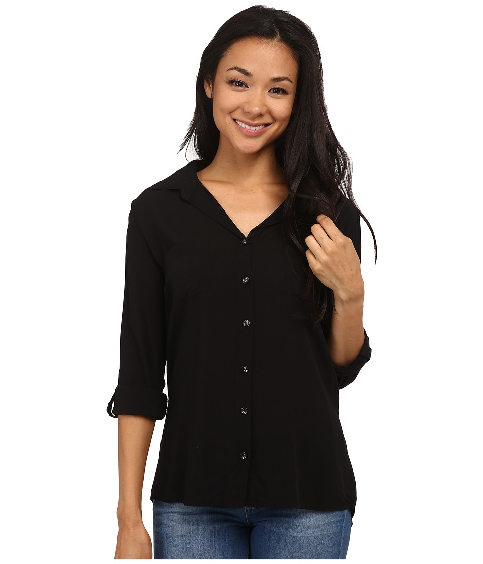 Mod-o-doc - Washed Rayon Voile Easy Button-Front Shirt (Black) Women's Clothing