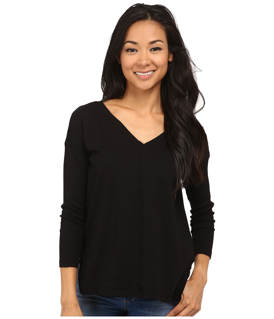 Mod-o-doc - French Terry Boxy Double V-Neck Pullover (Black) Women's Clothing