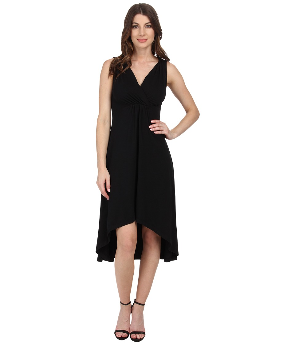 Mod-o-doc - Cotton Modal Spandex Jersey Shirred Empire Hi-Low Dress (Black) Women's Dress