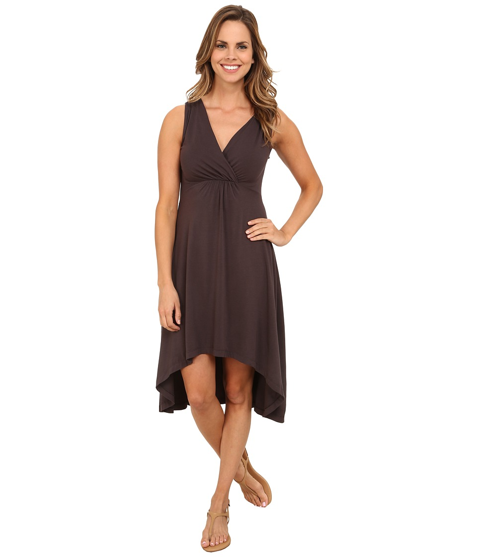 Mod-o-doc - Cotton Modal Spandex Jersey Shirred Empire Hi-Low Dress (Cinder) Women's Dress
