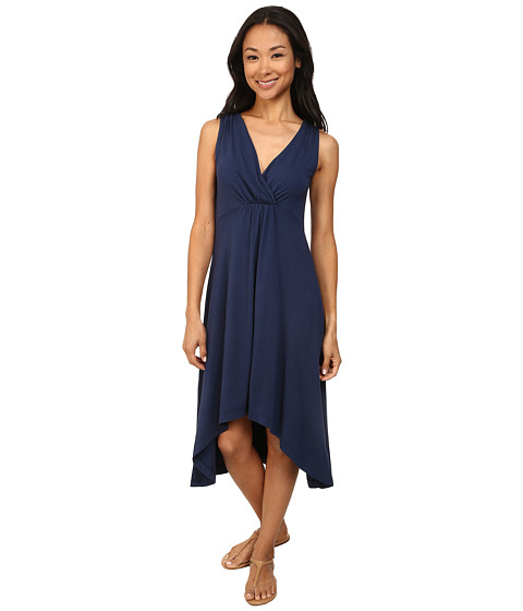 Mod-o-doc - Cotton Modal Spandex Jersey Shirred Empire Hi-Low Dress (New Navy) Women's Dress