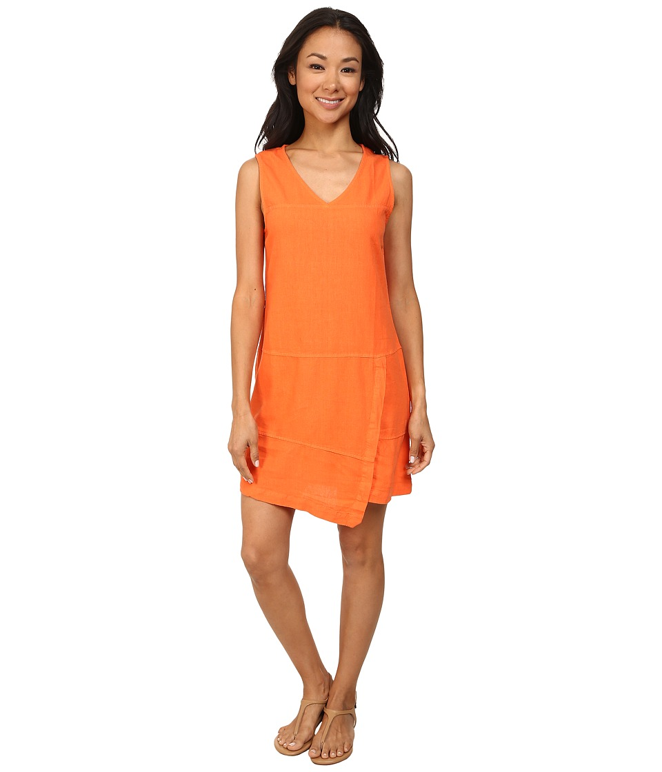 Mod-o-doc - Linen Rayon Faux Wrap Seamed Tank Dress (Citrus) Women's Dress