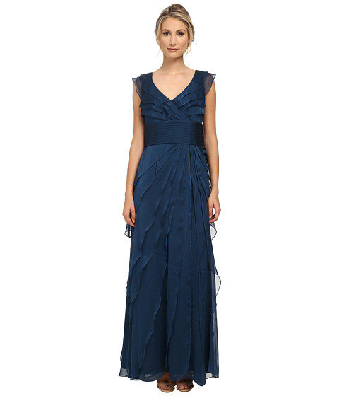 Adrianna Papell - Long Irri Tiered Petal Dress (Deep Blue) Women