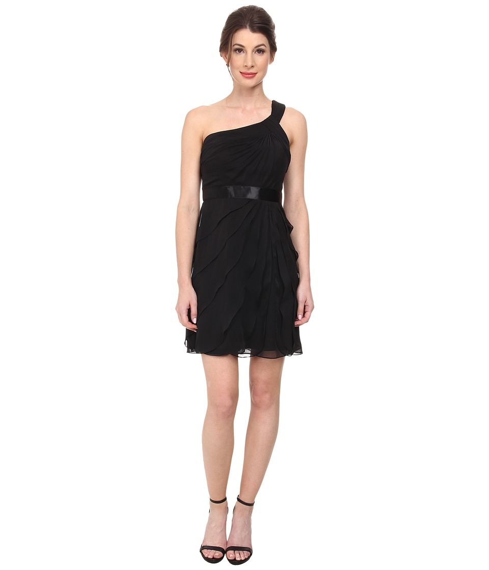 Adrianna Papell - One Shoulder Irri Chiffon Short Tiered (Bridesmaid) (Black) Women's Dress