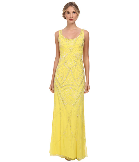 Adrianna Papell - Sleeveless Fully Beaded Gown (Lemon Drop) Women
