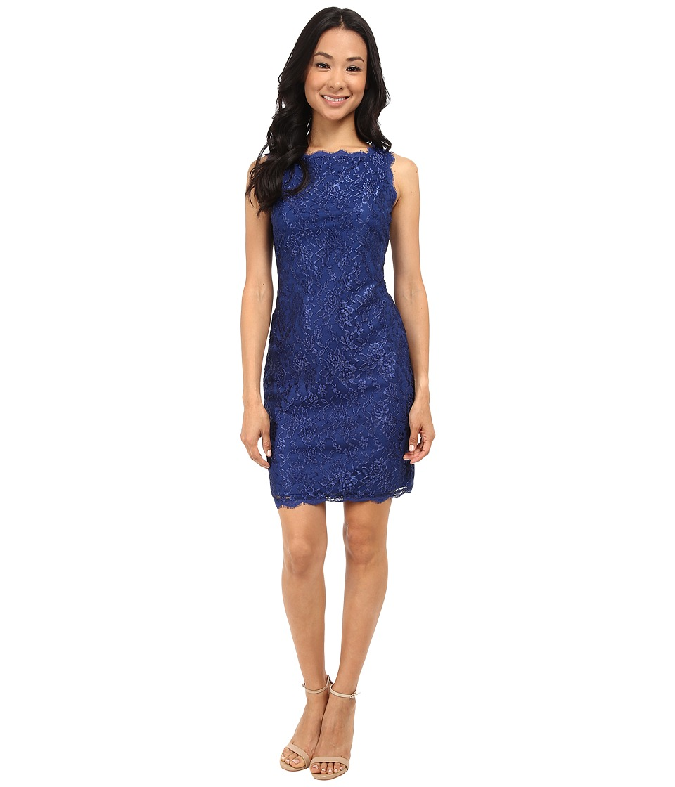 Adrianna Papell - Sleeveless Lace Cocktail Dress (Prussian) Women's Dress