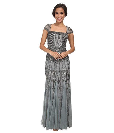 Adrianna Papell - Long Beaded Dress (Slate) Women's Dress