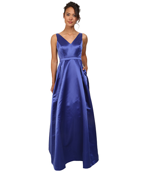 Adrianna Papell - Halter Satin Ball Gown with Open Back (Peacock) Women