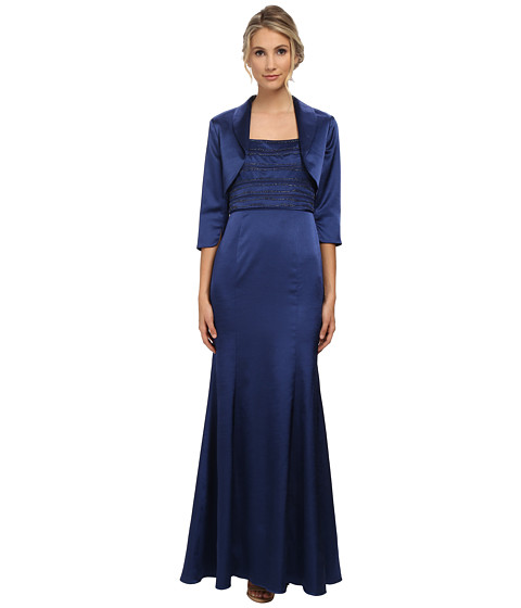 Adrianna Papell - Bead Shantung Gown with Jacket (Navy) Women's Dress