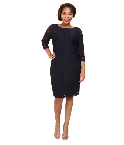 Adrianna Papell - Plus Size 3/4 Sleeve Lace Dress (Navy) Women's Dress