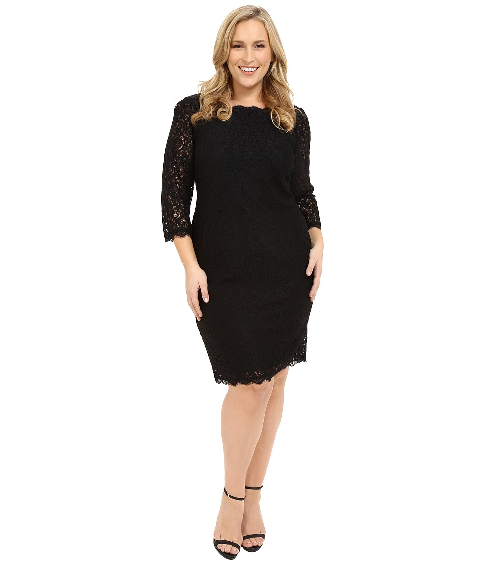 Adrianna Papell - Plus Size 3/4 Sleeve Lace Dress (Black) Women's Dress