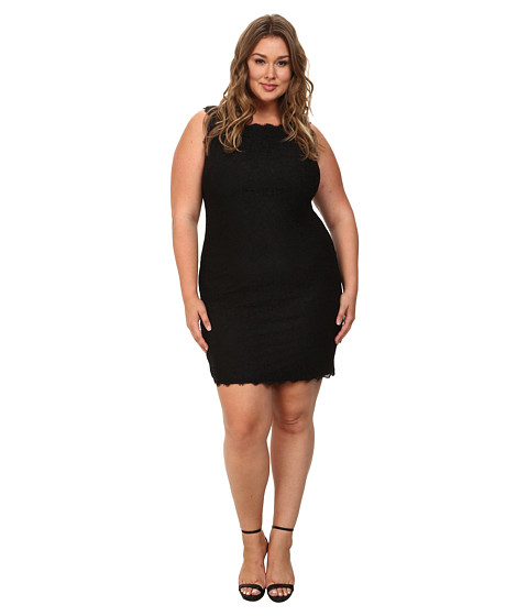 Adrianna Papell - Plus Size Sleeveless Lace Dress (Black) Women's Dress