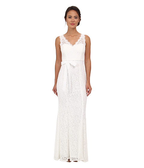 Adrianna Papell - Sleeveless V-Neck Lace Gown (Ivory) Women