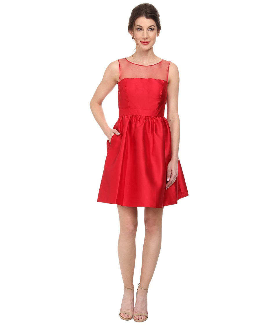 Adrianna Papell - Sleeveless Illusion Yoke Mikado Party Dress (Red) Women's Dress