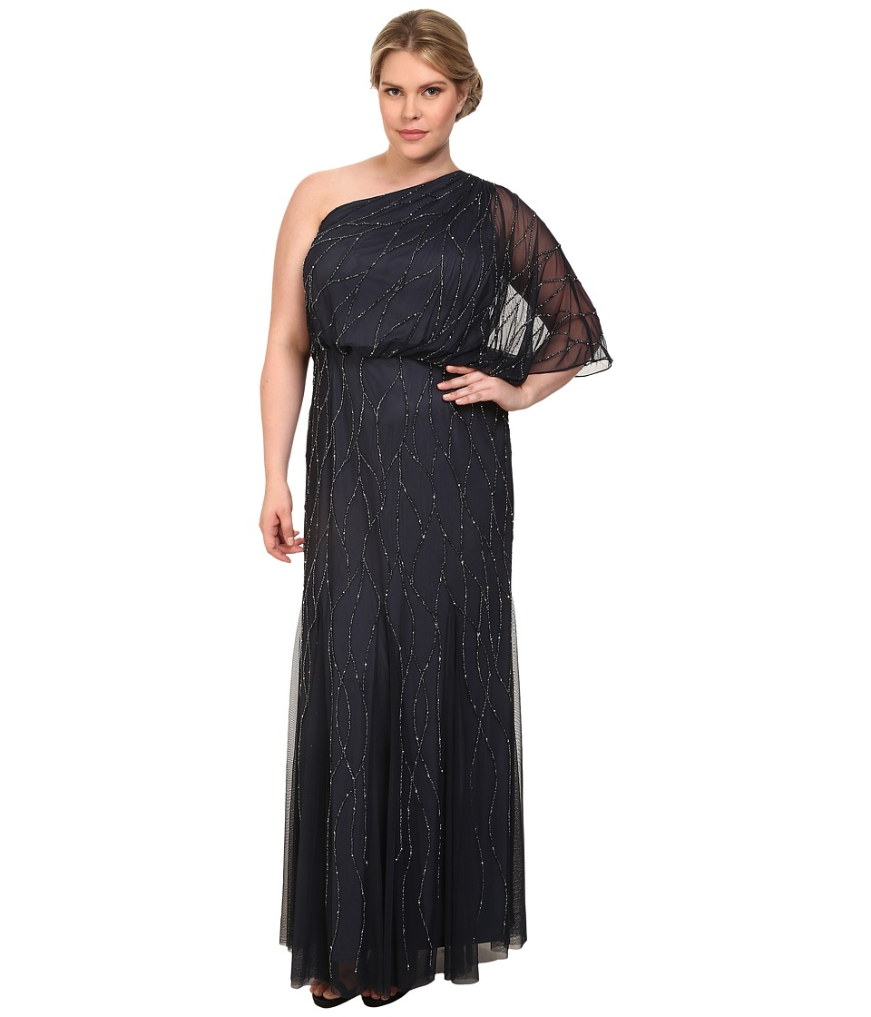Adrianna Papell - Plus Size One Shoulder Bead Blouson Gown (Charcoal) Women's Dress