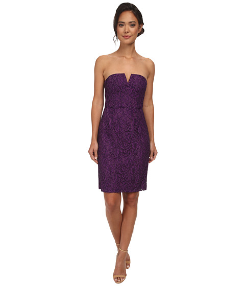 Donna Morgan - Strapless Lace Short Dress (Purple Dahlia) Women