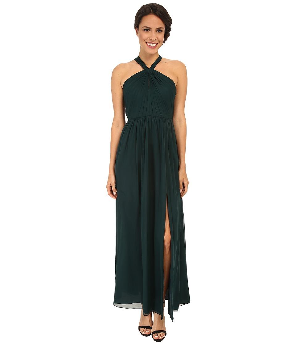 JILL JILL STUART Halter Neck Keyhole Silk Chiffon Gown (Spruce) Women