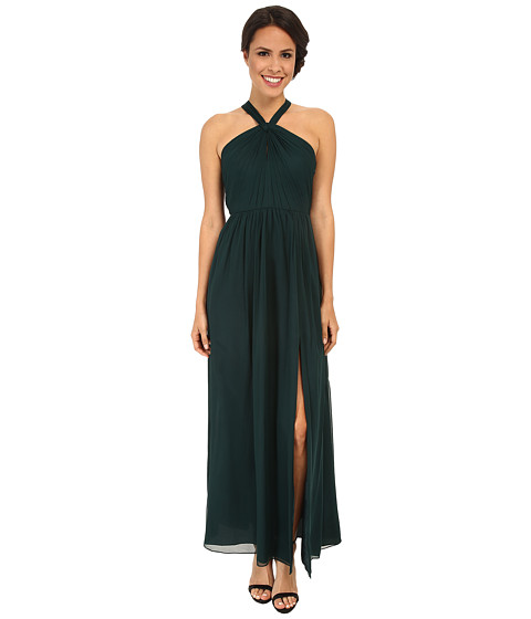 JILL JILL STUART - Halter Neck Keyhole Silk Chiffon Gown (Spruce) Women