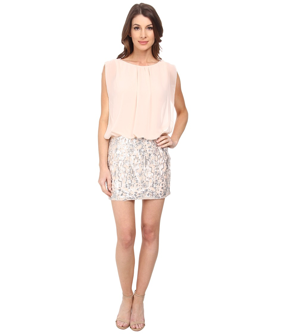 Aidan Mattox Contrast Beaded Skirt Blousson Dress (Champagne/Silver) Women