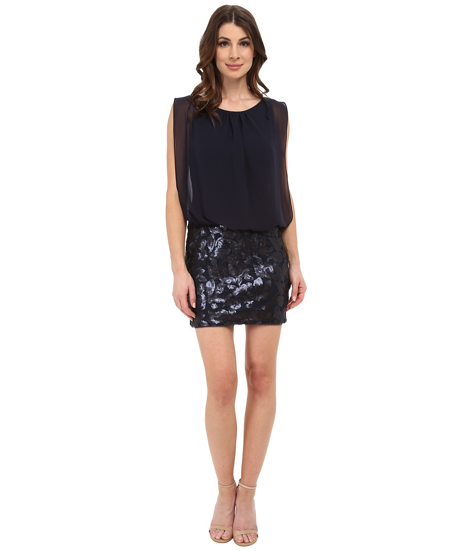 Aidan Mattox - Sequin Lace Blouson Dress (Twilight) Women