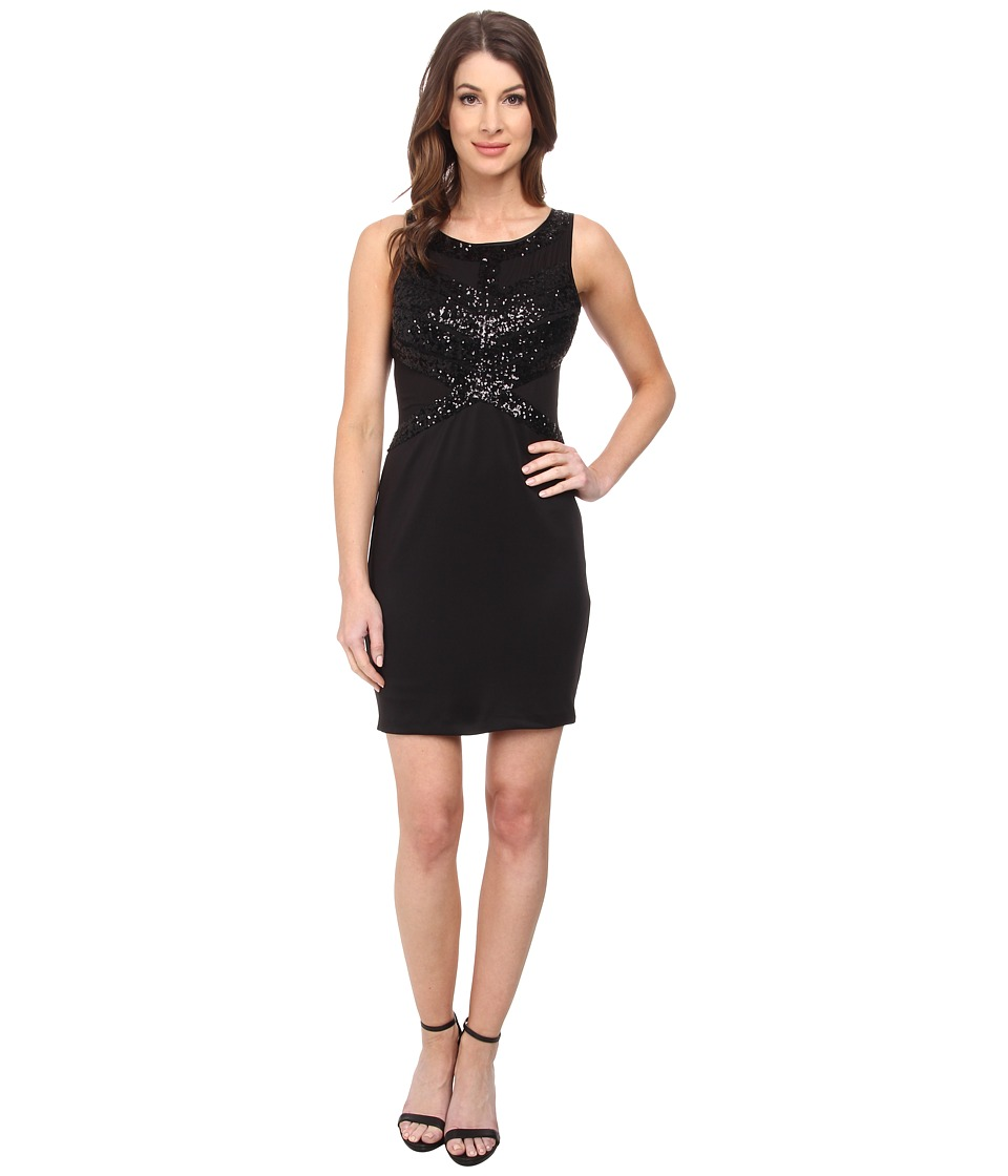 Aidan Mattox - Sleeveless Sheath w/ Bead Detail and Illusion Waist (Black) Women's Dress