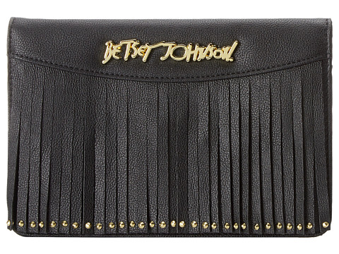 Betsey Johnson - On The Fringe Wallet On A String (Black) Wallet Handbags